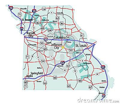 Missouri State Interstate Map