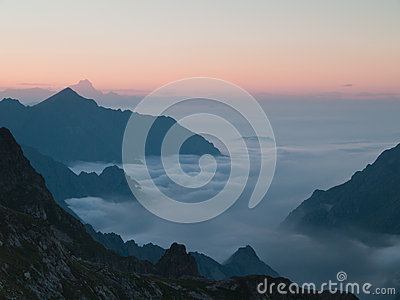 Mist among mountains