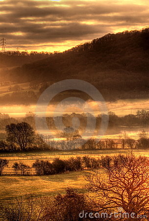 Mist over countryside in hdr