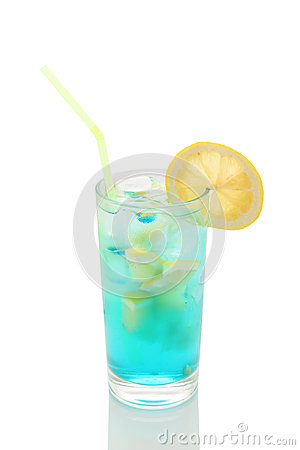 Free Misted Glass Of Lemonade With Lemon And Blue Royalty Free Stock Photo - 41072915