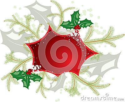 Mistletoe christmas frame, elements for design, vector