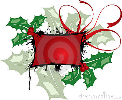 Mistletoe grunge frame, elements for design, vector
