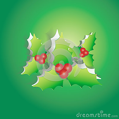 Mistletoe peel off from green paper background