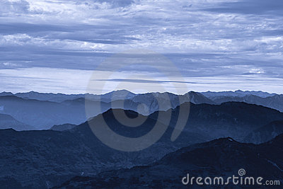 Misty dawn in Himalayas