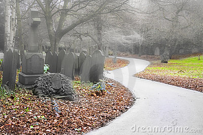 Misty early morning graveyard