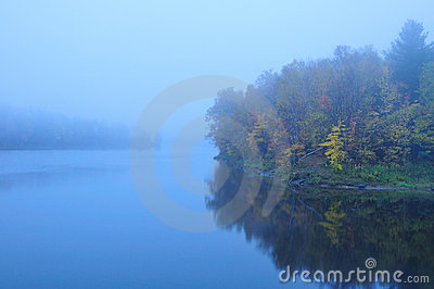 Misty Foggy Vermont Pond in the Fall