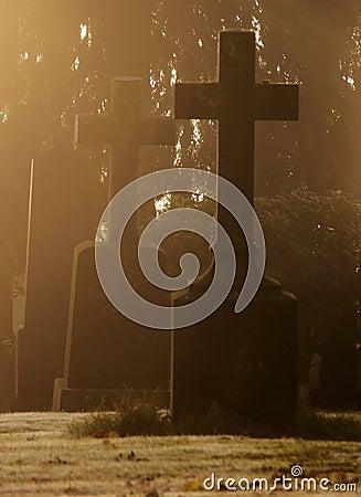 Misty Graveyard at Halloween