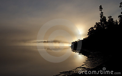 A Misty Lake Paringa, West Coast, New Zealand.