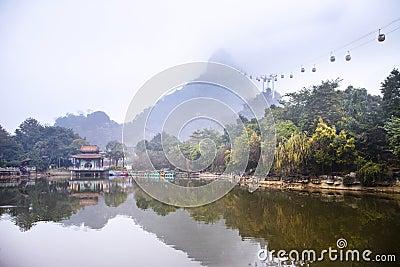 Misty lake in park