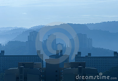 Misty morning high rise buildings
