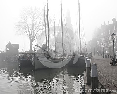 Yachts in the mist at Holland
