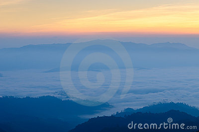 Misty Mountain at morning, Huay nam dang,Thailand