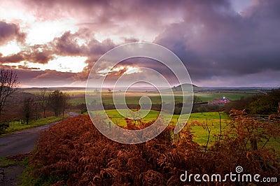 Misty North York Moors at sunset