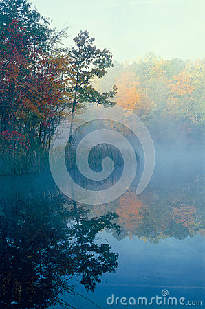 Misty Pond and Fall Colors