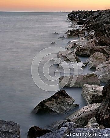 Misty Shoreline of Lake Michigan