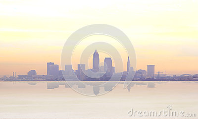 Misty sunrise in Cleveland