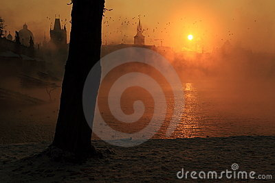 Misty sunrise in Prague
