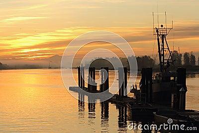 Misty Sunrise, Steveston Dock