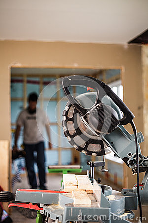 Free Miter Saw On A Construction Site Royalty Free Stock Photography - 52582747