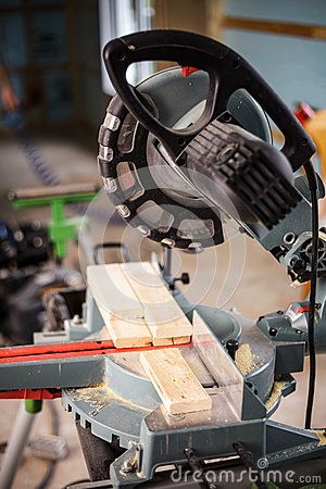 Free Miter Saw On A Construction Site Stock Photos - 52582863