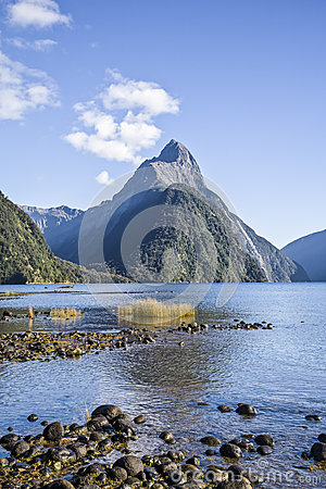 Mitre Peak in Milford Sound, New Zealand