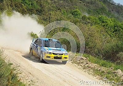 Mitsubishi Lancer Evo IX  rally car Editorial Stock Photo