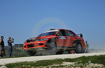 Mitsubishi lancer Evo X jumping Editorial Photography