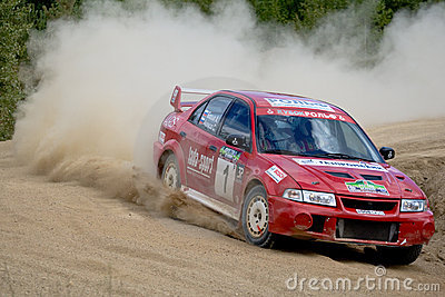 Mitsubishi Lancer in rally Editorial Image