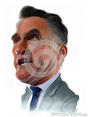 Mitt Romney Caricature portrait Editorial Photography