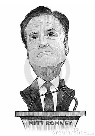 Mitt Romney Caricature Sketch Editorial Stock Image