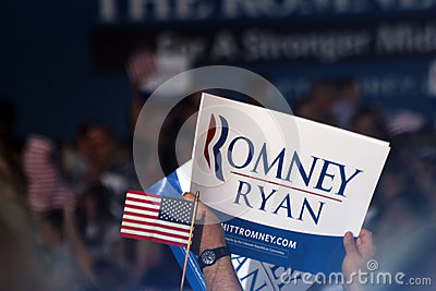 Mitt Romney Rally Editorial Stock Photo