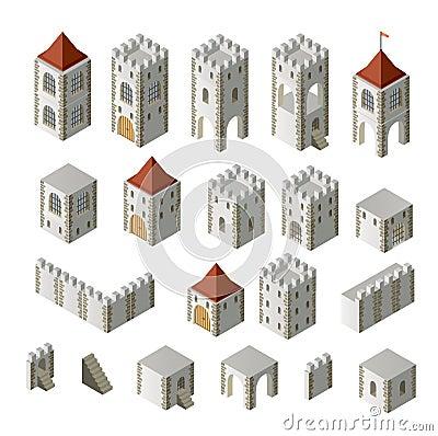 Ein set isometrische mittelalterliche gebäude auf einem weißen