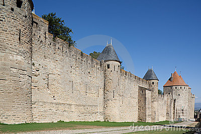 Mittelalterlicher Rampart von Carcassonne (Frankreich)