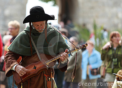 Mittelalterlicher Troubadour Redaktionelles Stockbild