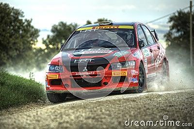 Mitzubishi lancer Evo IX rally car Editorial Image