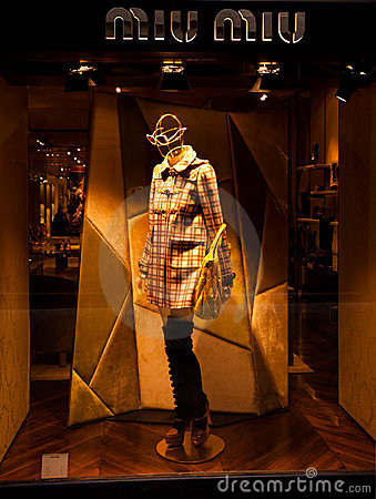 Miu Miu boutique with logo Editorial Stock Photo