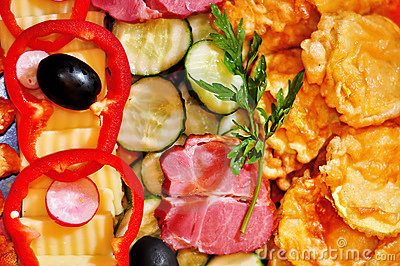 Mix appetizers on the plate