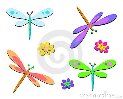 Mix of Dragonflies with Dots and Flowers