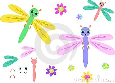 Mix of Dragonflies, Parts, and Flowers