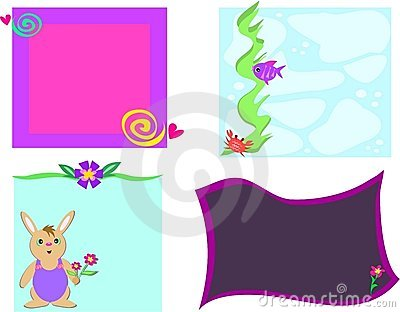 Mix of Frames of Designs, Flowers, Rabbit, and Fis