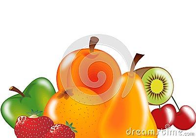 mix fruits on white