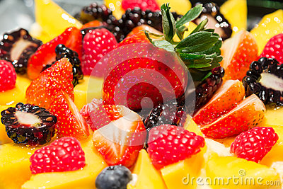 Mix strawberry fruit cheese cake closeup