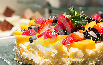 Mix strawberry fruit cheese cake