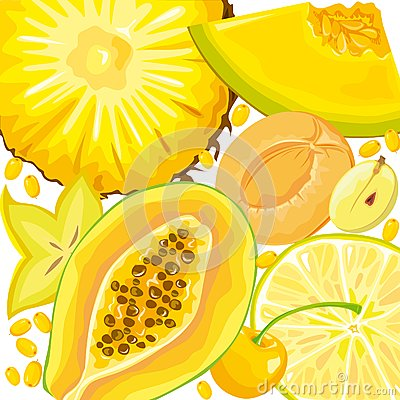 Mix yellow fruits and berries