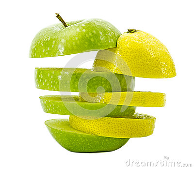 Mixed apple and lemon on white background