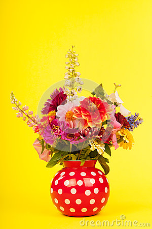 Mixed colorful bouquet in vase