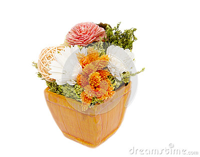 Mixed colorful dry flower arrangement