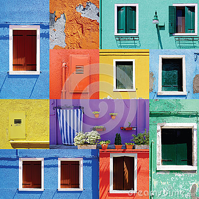 Free Mixed Colorful Windows Wall And Doors Royalty Free Stock Photos - 57059088
