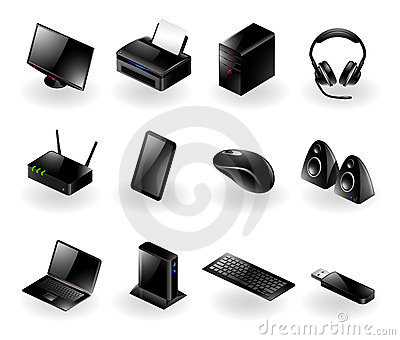 Mixed computer hardware icons