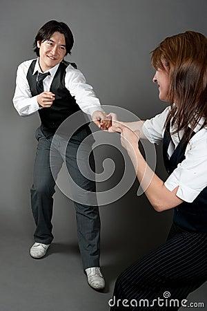 Free Mixed Couple Jazz Dancers Stock Image - 20966821